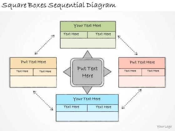 Ppt Slide Square Boxes Sequential Diagram Business Diagrams