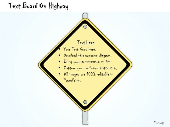 Ppt Slide Text Board On Highway Sales Plan