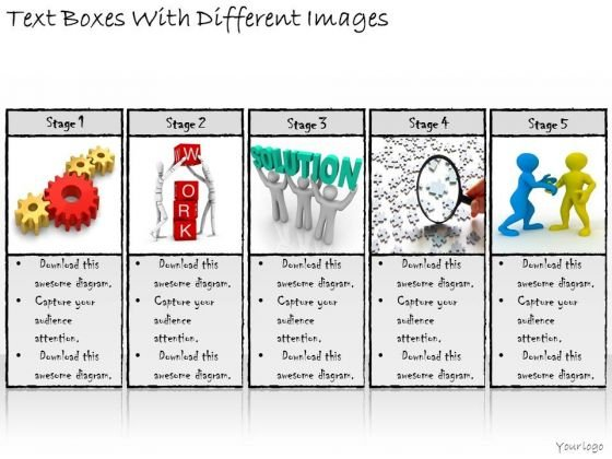 Ppt Slide Text Boxes With Different Images Business Diagrams