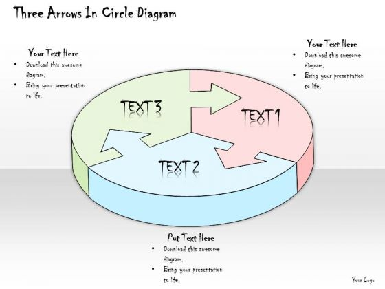 Ppt Slide Three Arrows In Circle Diagram Sales Plan