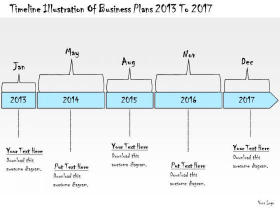 Ppt Slide Timeline Illustration Of Business Plans 2013 To 2017