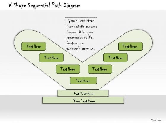 Ppt Slide V Shape Sequential Path Diagram Business Diagrams