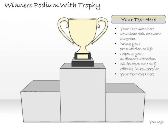Ppt Slide Winners Podium With Trophy Business Diagrams