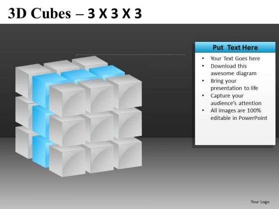 Ppt Slide With Middle Layer Of 3d Cube