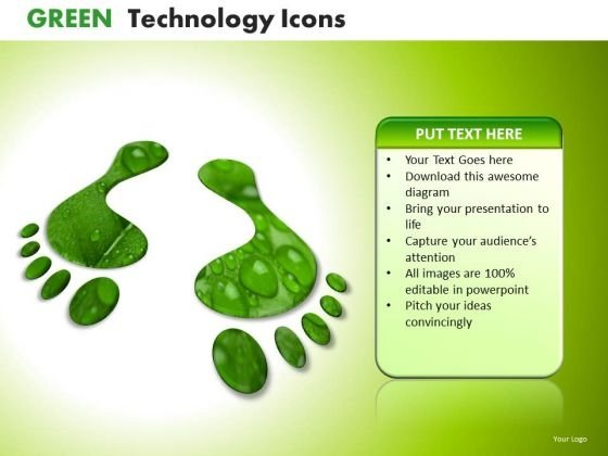 Ppt Slides Green Footprints Icons PowerPoint Templates