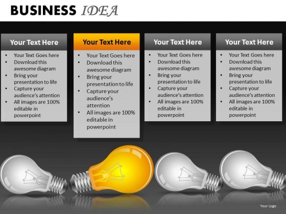 Ppt Slides Light Bulbs Leadership