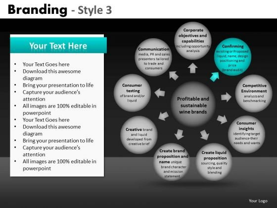 Ppt Slides Spherical Text Boxes Process Charts PowerPoint Templates