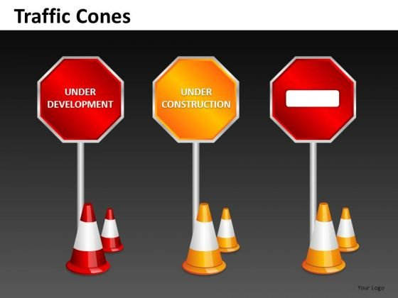 Ppt Slides Under Construction Development Road Signs PowerPoint Templates