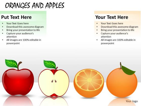 Ppt Slides With Apples Orangs Fruits Graphics