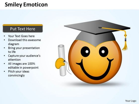 Ppt Smiley Emoticon With Graduation Degree And Cap Business PowerPoint Templates