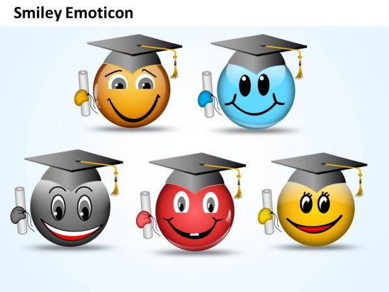 Ppt Smiley Emoticon With Graduation Degree And Cap Growth PowerPoint Templates