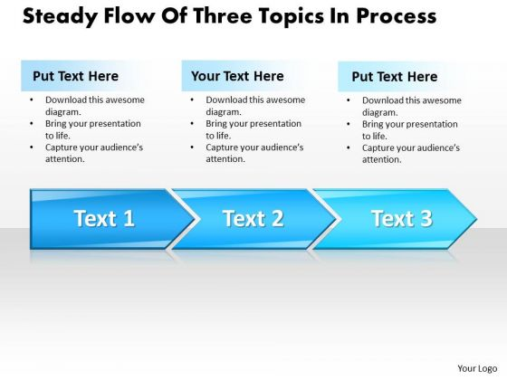 Ppt Steady Flow Of Three Steps Working With Slide Numbers Process PowerPoint Templates