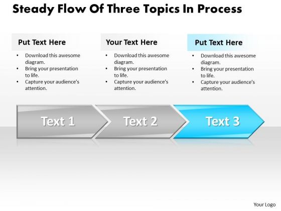 Ppt Steady Flow Of Three Topics In Writing Process PowerPoint Presentation Templates