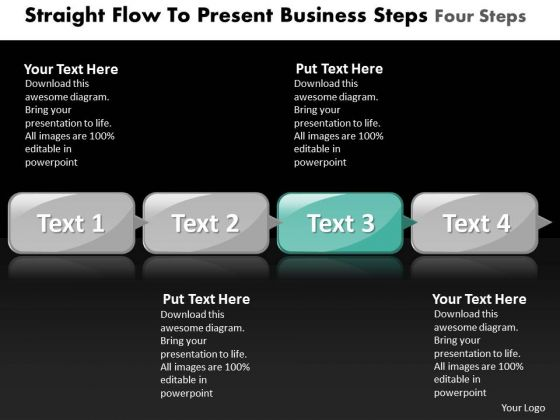 Ppt Straight Flow To Present Business PowerPoint Theme Steps Four Templates