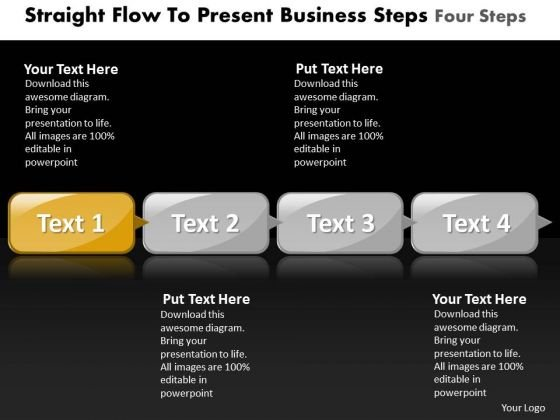 Ppt Straight Instance To Present Business PowerPoint Theme Steps Four Templates