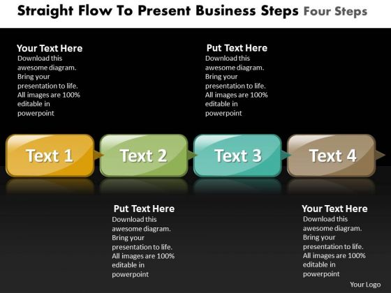 Ppt Straight PowerPoint Design Download To Present Business Steps Four Templates