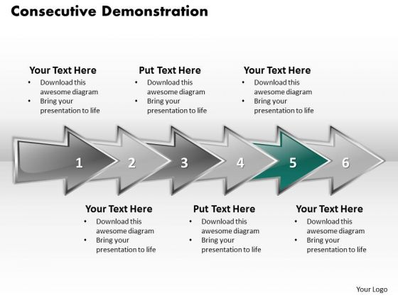 Ppt Successive Demonstration Using Arrows PowerPoint 2010 Six Steps Templates