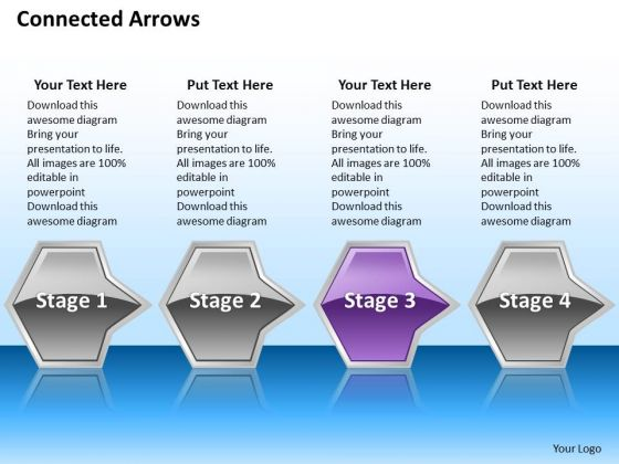 Ppt Successive Illustration Of Octagonal Arrows 4 Power Point Stage Purple PowerPoint Templates
