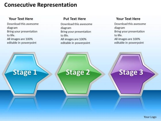 Ppt Successive Representation Of Octagonal Arrows PowerPoint Templates 3 Stages