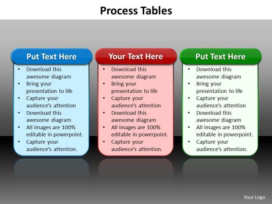 Ppt Tabular Illustration Of 3 Different Processes PowerPoint Templates