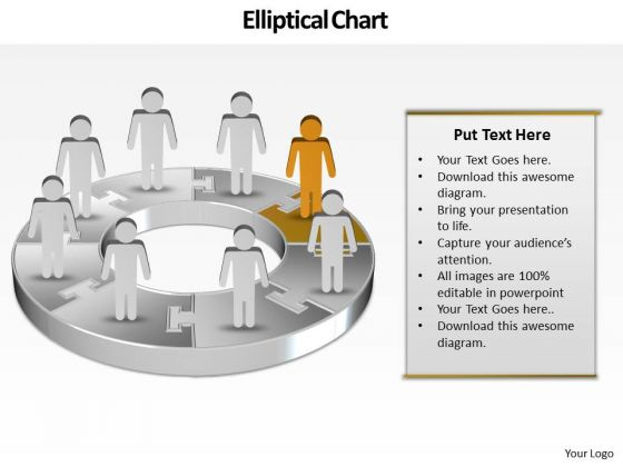 Ppt Team Work Person Presentation Standing Orange Piece Of Chart PowerPoint Templates