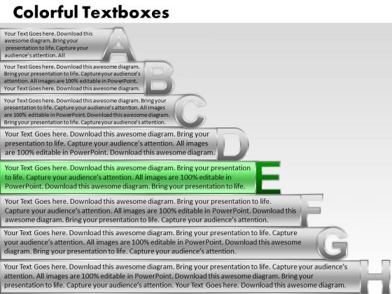 Ppt Techno PowerPoint Templates Textboxes With Alphabets Abcdefgh