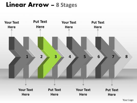 Ppt Template 3d Arrow Representing Eight Later Steps Time Management PowerPoint 4 Design