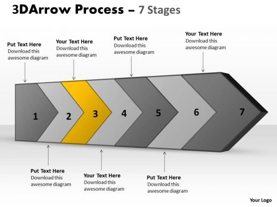 Ppt Template 3d Continuous Arrow Steps Free Fishbone Diagram PowerPoint 4 Design
