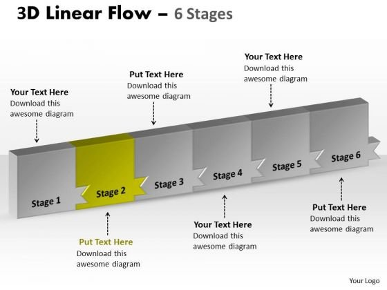 Ppt Template 3d Illustration Of Marketing Planning 6 Stages Business PowerPoint Graphic