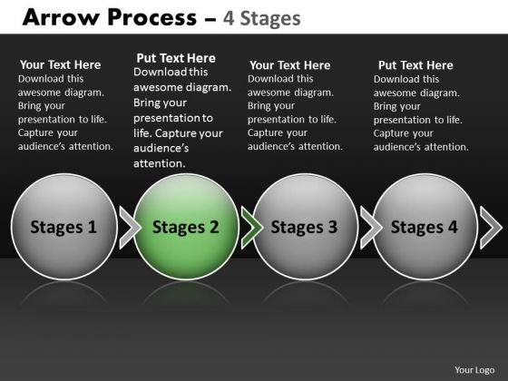 Ppt Template Circular Flow Of 4 Stage Swim Lane Diagram PowerPoint 3 Image