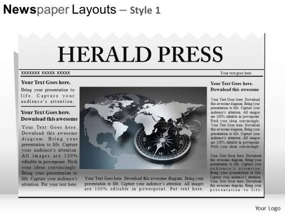 Ppt Template Editable Newspaper Headline PowerPoint Slide Graphics