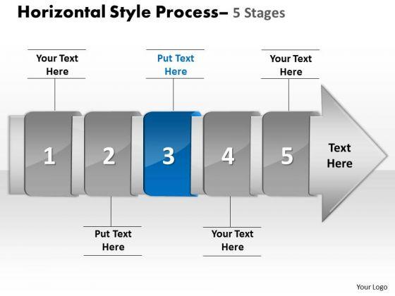 ppt template horizontal flow of 5 stage swim lane diagram, Modern powerpoint