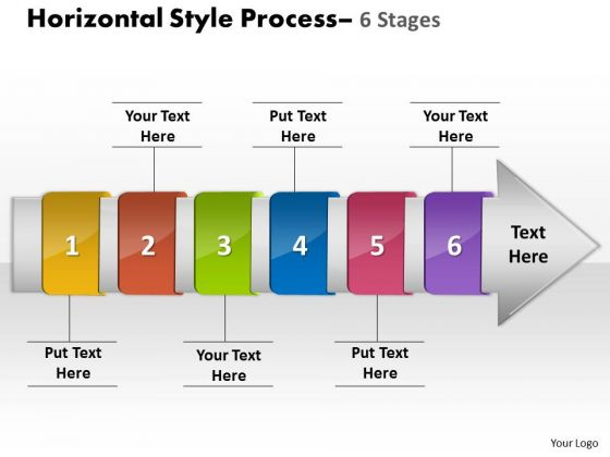 Ppt Template Horizontal Flow Route Charts Of 6 Stage Diagram PowerPoint Free 1 Image