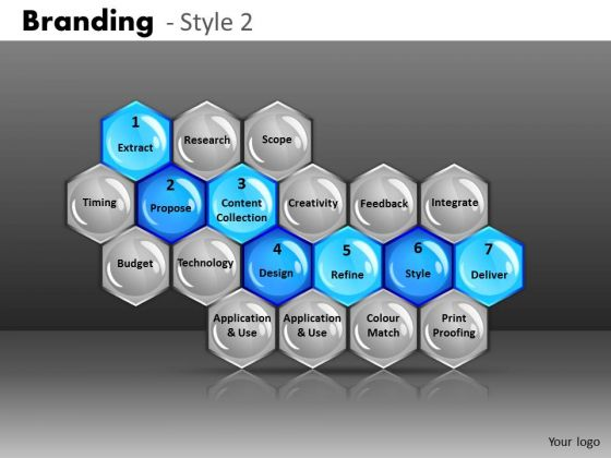 Ppt Templates 7 Stages Process Presented In Hexagonal Comb PowerPoint Slides