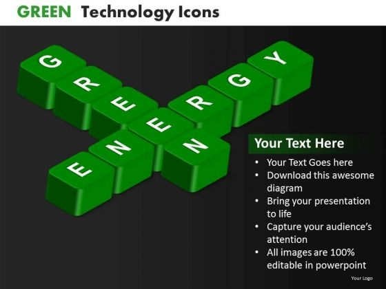 Ppt Templates Green Energy Text Symbol PowerPoint Slides