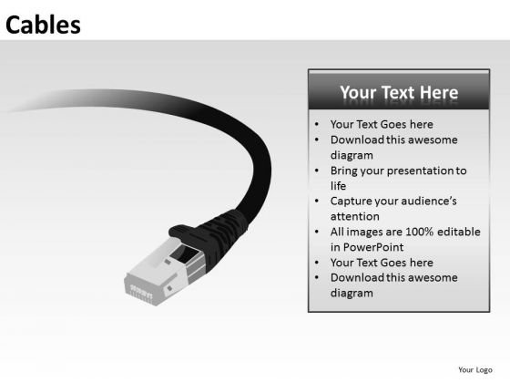 Ppt Templates Network Lan Ethernet Cable PowerPoint Slides