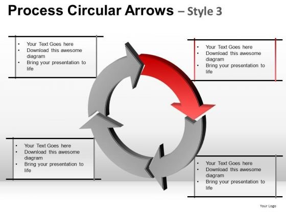 Ppt Templates Red Arrow Circular Cycle Chart Diagram PowerPoint Slides