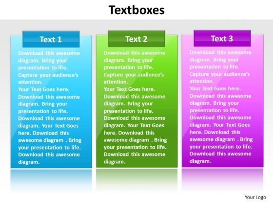 Ppt Text Boxes PowerPoint Background Colorful Representation Templates
