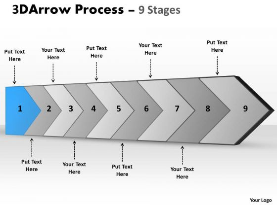 Ppt Theme 3d Illustration Of Arrow Course Action 9 Phase Diagram 2 Graphic