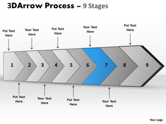 Ppt Theme 3d Illustration Of Arrow Manner 9 Stages Operations Management PowerPoint 8 Image