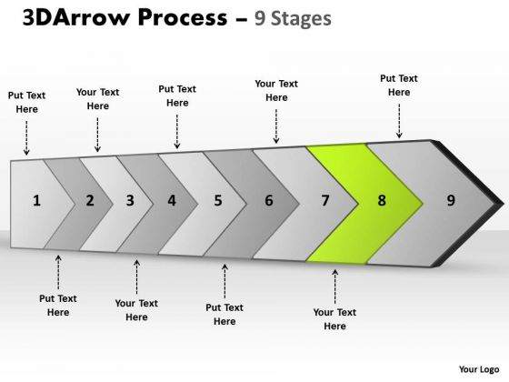 Ppt Theme 3d Illustration Of Arrow Manner 9 Stages Operations Management PowerPoint Image