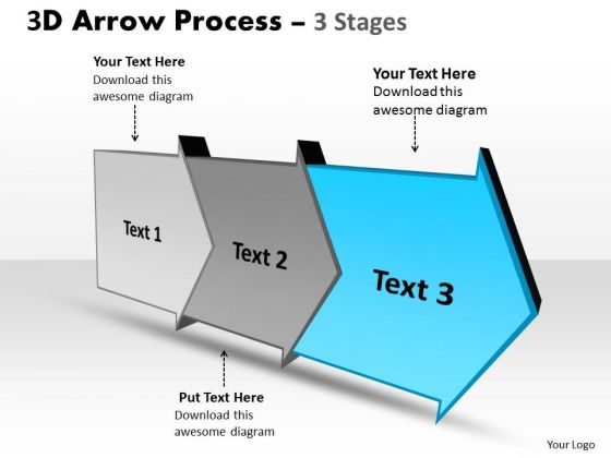 Ppt Theme 3D Linear Arrow Progression Stages Communication Skills