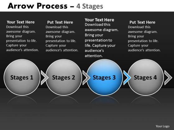 Ppt Theme Circular Flow Of 4 Stage Ishikawa Diagram PowerPoint Template Image