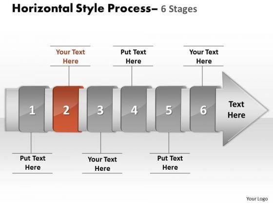 Ppt Theme Horizontal Flow Of 6 Stage Spider Diagram