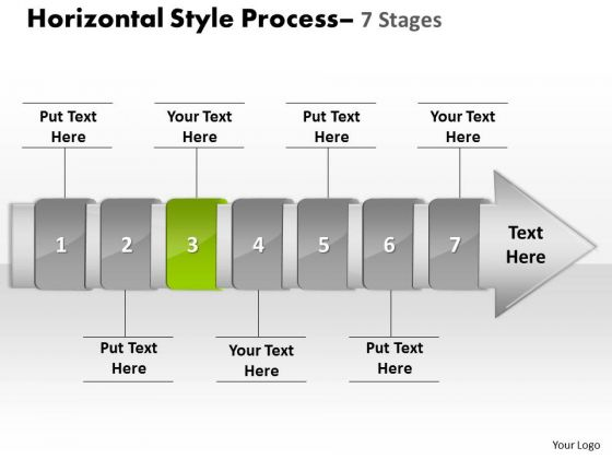 Ppt Theme Linear Demonstration Of 7 Stages Manner Production Strategy PowerPoint 4 Design