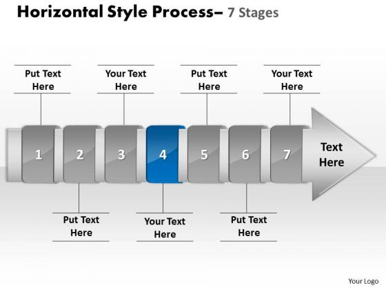Ppt Theme Linear Demonstration Of 7 Stages Manner Production Strategy PowerPoint 5 Design