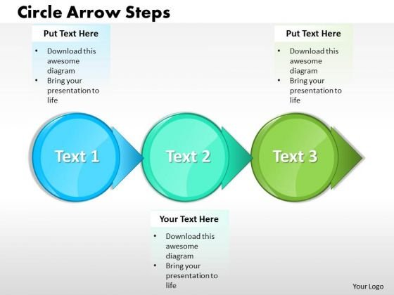Ppt Three Circle Text Arrow Process Create PowerPoint Macro Templates