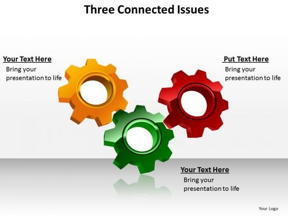 Ppt Three Connected Issues Processes Or Topics Business Strategy PowerPoint 1 Templates