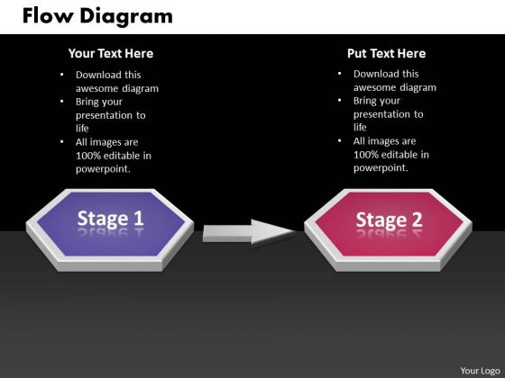 Ppt Two State Diagram Sequential Marketing Flow PowerPoint Free Templates