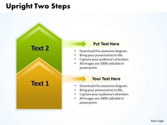 Ppt Upright 2 Steps Description PowerPoint Templates